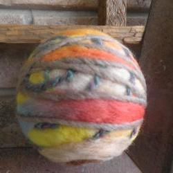 NEW - Wool Art Ball filled with Lemon Balm. Lemon air freshener, natural, ecofriendly. Vibrant felted wool ball. Ornament, bowl filler.